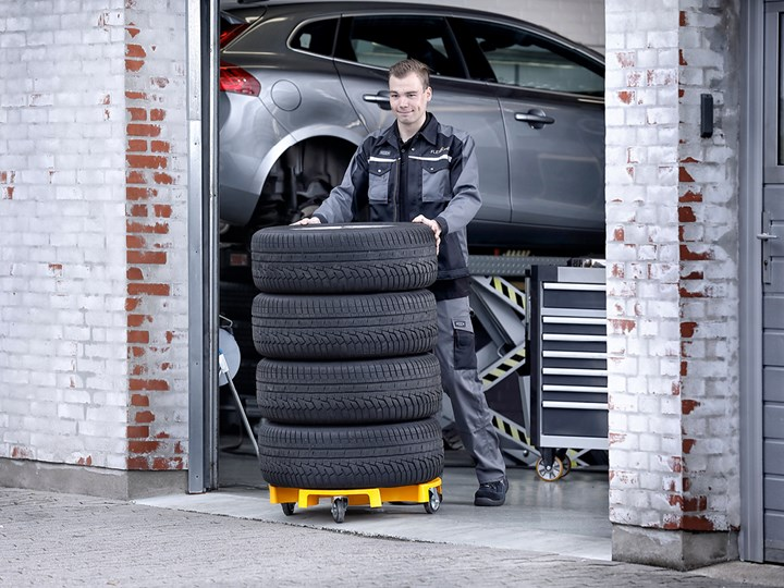 Image of AutoDrain Wheel Trolley 700   A clever transport unit for wheels and tyres. Designed to comfortably move wheels and tyres around the workshop.